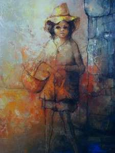 Vintage Oil Painting on Canvas Girl w/ Basket Signed Felmart