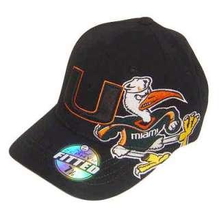 NCAA FITTED CAP HAT BLACK UM MIAMI HURRICANES 7 5/8