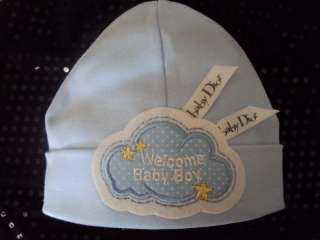 blue welcome baby boy with dior ribbon 0 6mon only