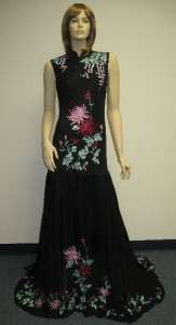Sue Wong Designer Dress Black Gown Asian Sequin Evening Cocktail