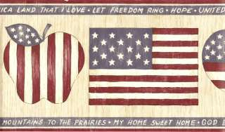 PATRIOT COUNTRY ALL AMERICAN FLAG & HEART Wallpaper bordeR Wall