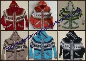 New Alpaca Sweater Jacket Hood for Kids ~ Multi colored