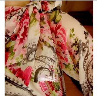 wholesale Elegant Flowers Printed Chiffon Dress Red