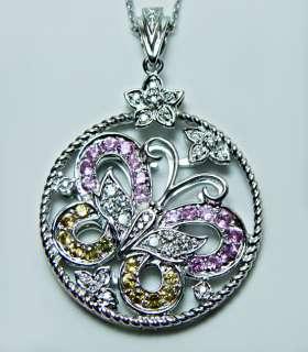 Lg Pink Sapphire Diamond Butterfly Pendant 14K White Go