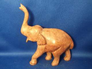 Wild Elephant Figurine Hand Carved & Crafted Statue Light Wood 4.5