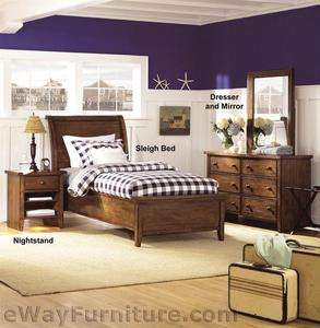 Brighton Low Profile Twin Sleigh Bed Kids Guest Dorm Bedroom Set