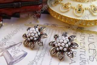 Lovely Flower Imitative White Pearl Red Dazzling Crystal HOT