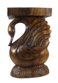 Hand Carved Acacia Wood Swan Plant Stand