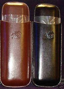 COLIBRI BROWN Leather Twin Cigar Case & CUTTER *