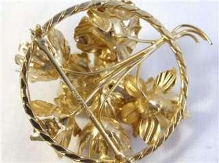 Vintage Made in Austria, sugar coated, rhinestone and gold tone flower