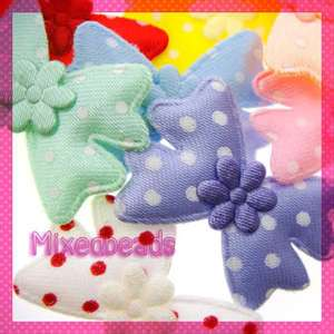 40 Satin Polka Dot Bow/Flower Applique Padded girl hair
