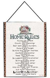 Home Rules Inspirational Tapestry Bannerette Wall Hanging 725734382375