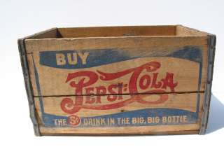 old Vintage Antique Double Dash Pepsi Cola Coke Wooden Crate Box Sign