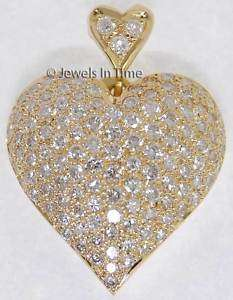 14K Yellow Gold Pave Diamond Heart Pendant
