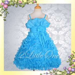 Blue Wedding Flower Girl Pageant Party Dress Size 6 7