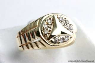 Mercedes Herrenring in 14 kt. 585 Gold Ring mit Stern u. Zirkonia
