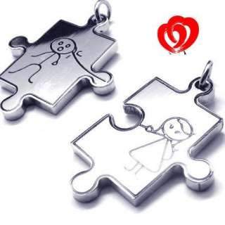 Men Women Stainless Steel Love Jigsaw Pendant Necklace