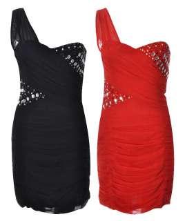 Womens Chiffon Pleated Bandage Dresses One Shoulder Diamond Stud Dress