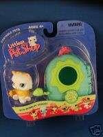 Littlest Pet Shop # 207 White Yellow Kitty Green case