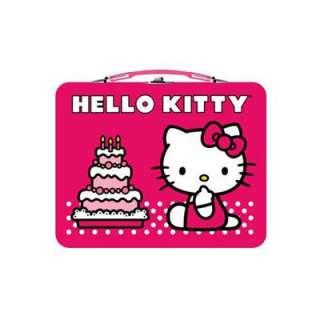 Hello Kitty School Kids Girls Storage Tin Metal Tote Lunch Box Bag by