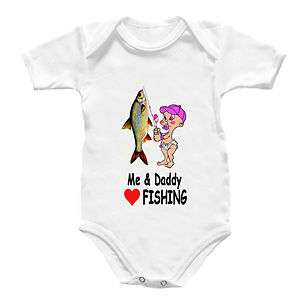 Fishing Babygro Shirt Rod Reel Baby Grow Angler Love D