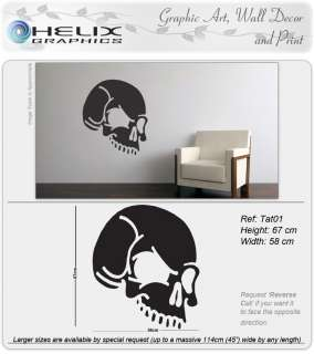 WALL ART DECAL VINYL STICKER Tattoo Evil Skull Art Tat1