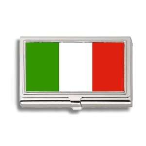 Italy Italian Flag Business Card Holder Metal Case Office