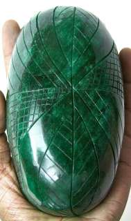 5385CT BIG NATURAL CARVED EMERALD FREE CERTIFICATE BEAUTIFUL