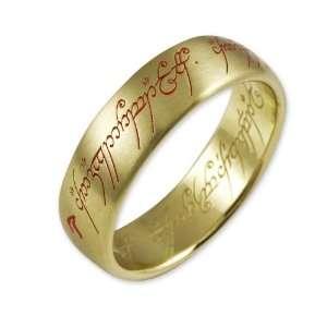 Herr der Ringe Unisex Ring Gold 333 Saurons Ring mit roter Inschrift