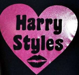 LOVE HARRY STYLES ~ ONE DIRECTION/1D BLACK KIDS T SHIRT & PINK GLITTER