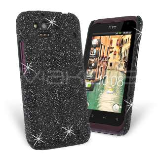Black Fine Sparkle Glitter Back Cover Case for HTC Rhyme