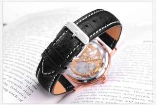 Luxury KS Skeleton Mechanical Analog Leather Band Men Wrist Watch