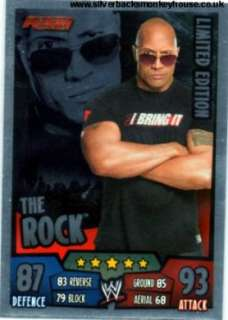 WWE Slam Attax Rumble Trading Cards   THE ROCK Limited Edition   FREE