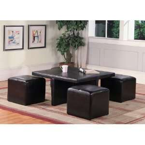 Brown Faux Leather Table w/ 4 Storage Ottoman Furniture