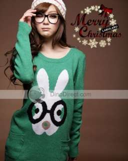 Wholesale YW Cartoon Rabbit Pocket Long Sleeve Women Sweater