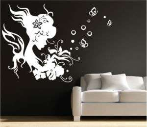 Flower Girl Bubble Butterfly Wall Stickers, Decals 032