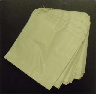 100 Strung Small White Paper Bags 5 x 5 Sweet/Food