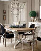 Frison Dining Furniture, French Script Armchair, & Black Linen Chairs