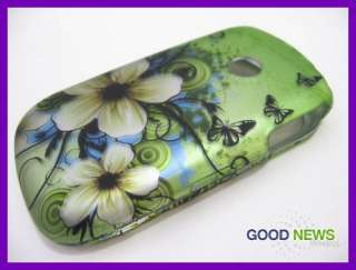 for TracFone LG 800G 800 G   Green White Flower Hard Case Phone Cover