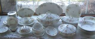 Imperial Limoges France Pink Yellow Floral Dinnerware +Serving Pieces