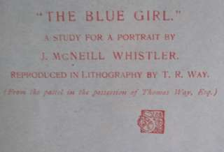 e1900s JAMES WHISTLER ORIGINAL ART PRINT~THE BLUE GIRL~STUDIO MAGAZINE