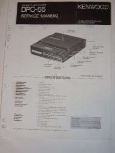 Kenwood Service Manual~DPC 55 Compact Disc Player CD