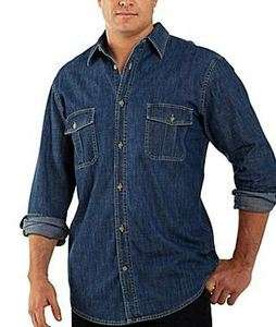 NWT Mens St. Johns Bay S M 2XL Medium & Dark Wash Denim LS Shirt