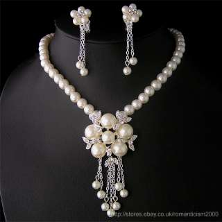 Wedding/Bridal pearl &crystal necklace earring set S138