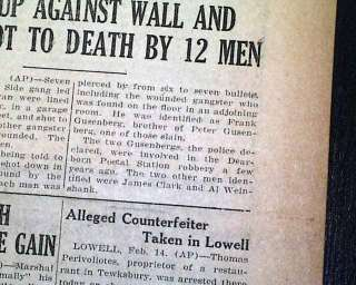 ST. VALENTINES DAY MASSACRE Al Capone 1929 Newspaper *