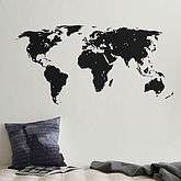 World Map Wall Sticker With Destination Markers   travel inspired