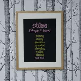 Personalised Things I Love Art Print Pink/Yellow