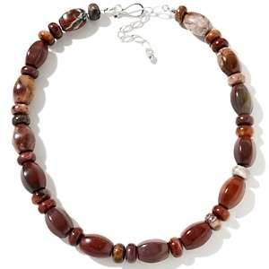 Red Poppy Jasper Beaded Sterling Silver 18 1/4 Necklace