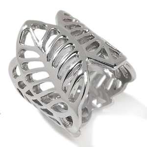 Stately Steel Open Leaf Design Band Ring