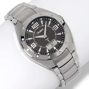 Mens Black Dial Atomic Stainless Steel 8 Bracelet Watch